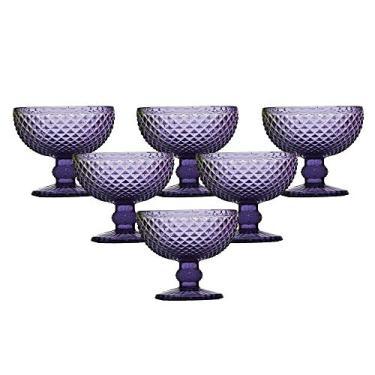 Jogo de Taças para Sorvete Bon Gourmet Bico de Jaca Violeta 220 ml - 6 peças