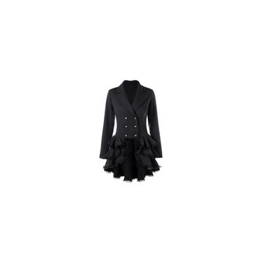 Casaco feminino de manga comprida blazer terno tops jaqueta slim renda folgada com botões