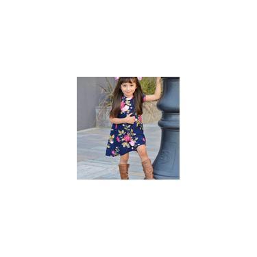Vestido de manga curta para mãe filha estampado floral vestido de família combinando