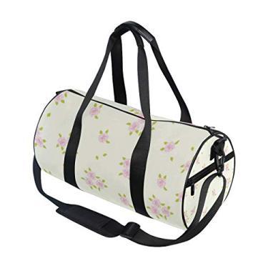 Imagem de Bolsa esportiva pequena floral com rosas para viagem, academia, ombro, bolsa de mão, para homens, mulheres, crianças, meninos e meninas
