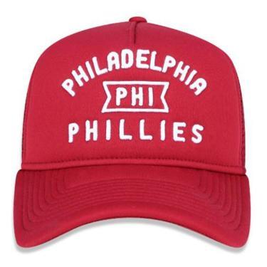 7d9a0edf866a5 Boné Aba Curva MLB Brooklyn Script Trucker BON182 New Era - Vermelho