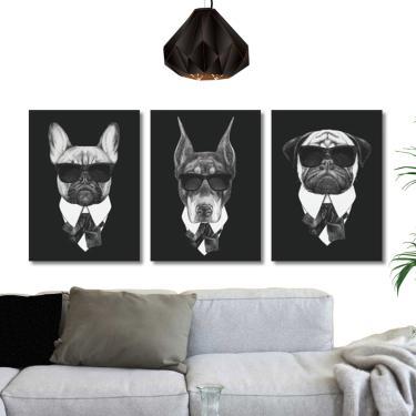 Quadros Cães da Mafia Pets de Preto com oculos Conj. 3 peças