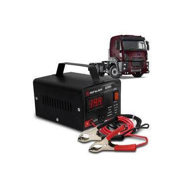 Carregador Bateria Automotivo Para Caminhão Shutt Bivolt 12v 10a 120w Com Voltímetro Digital