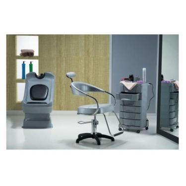 Kit Salão Completo: Cadeira Lavatório Carrinho - Dompel - Gray Suit