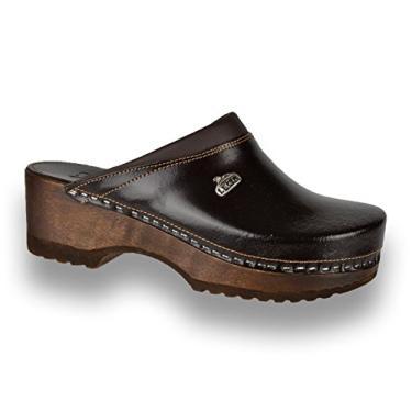 Sapato feminino slip-on de couro Leon B4 Mule Clogs, Marrom, 5-5.5