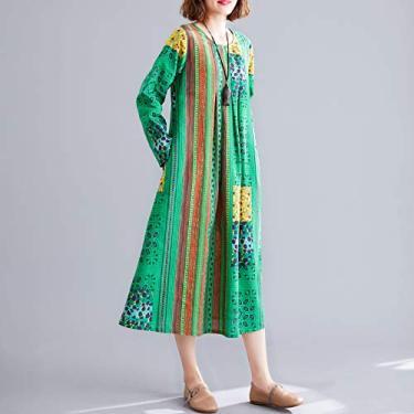 Vestido de manga comprida em tira boêmia retro Adaskala estampado de algodão e linho O-pescoço O-pescoço vestido de comprimento médio com bolsos soltos