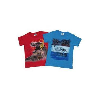 Camiseta Infantil Masculino Manga Curta Kit Com 2 Unidades Vermelho E Azul Jeans