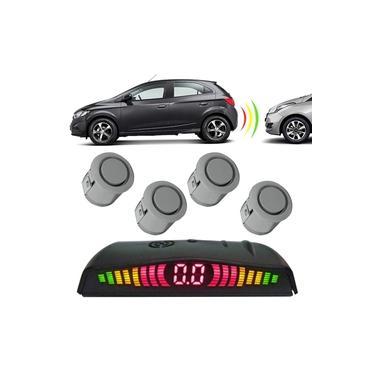 Sensor de Estacionamento 4 Pontos com Visor de LED Techone 18mm Sobrepor Prata Universal
