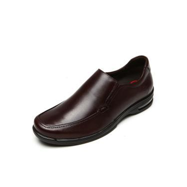 Sapato Social Couro Democrata Elástico Marrom Democrata148103-002 masculino