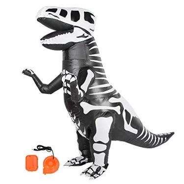 Imagem de Weiyirot Fantasia inflável de dinossauro   Fantasia de Halloween Velociraptor para cosplay   Fantasia inflável de dinossauro com soprador de ar para festivais de Natal, festas, bares, decoração (X118)