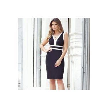 086e1198b36e Vestido Feminino Social Tubinho Decote V Bicolor Seiki 380364