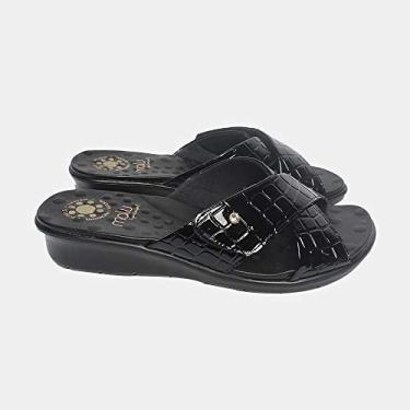 Sandália com Velcro Malu Super Comfort Cléo Feminino Preto 35