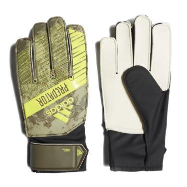 Luvas de Goleiro Adidas Predator Training Infantil FJ5920, Cor: Verde Militar/Amarelo, Tamanho: 5