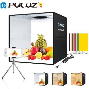 Imagem de Puluz 25cm/40cm photo studio box portátil anel led fotografia estúdio lightbox tiro tenda caixa kit
