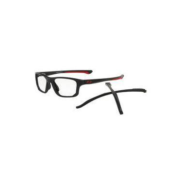 86f054746 Armação Oculos Grau Oakley Crosslink Fit 8136 0455 Preto Fosco Vermelho