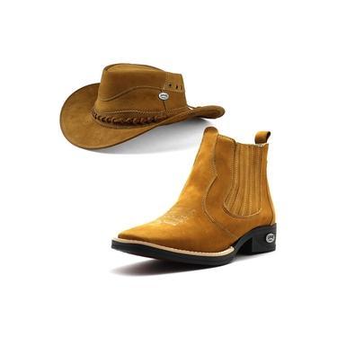 Bota Country Nobuck Masculina com Chapéu de Couro La Faire Castor