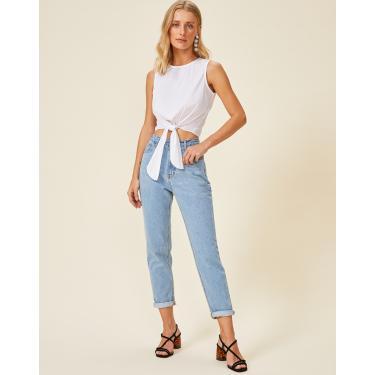 calça jeans mom basic Feminino AMARO AZUL CLARO 34