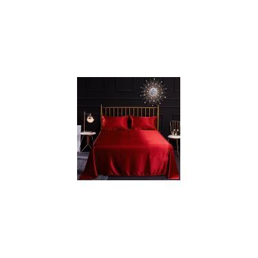 Imagem de Jogo de Cama Casal Padrão 04 Peças em Cetim Charmousse Confortável e Super Macio Brilhante Vermelho
