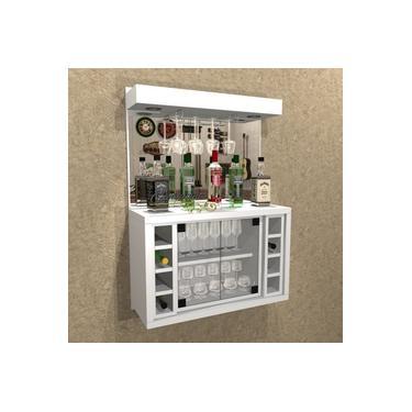 Imagem de Barzinho Cristaleira com Adega Para 8 Garrafas E LED - BAR02 BRANCO