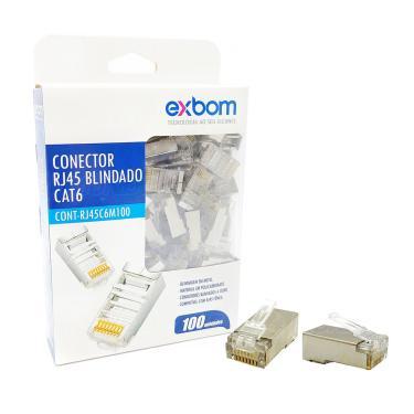 Conector RJ45 CAT6 Blindado em Metal 8P8C Suporta Gigabit Ethernet Exbom RJ45C6M100 Cx c/ 100 Un.