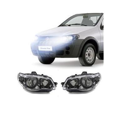 Farol Fiat Strada 2005 a 2008 Arteb Principal Máscara Cromada Canhão Preto Foco Duplo Encaixe H3 H7