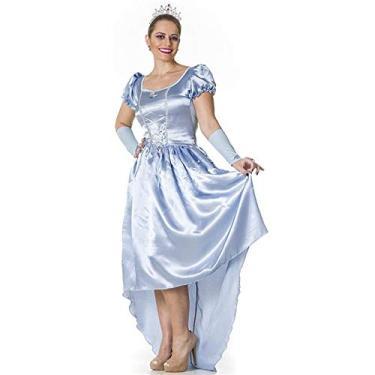 Imagem de Fantasia Princesa Cinderela Adulto Feminina Com Tiara e Luva GG 48-50