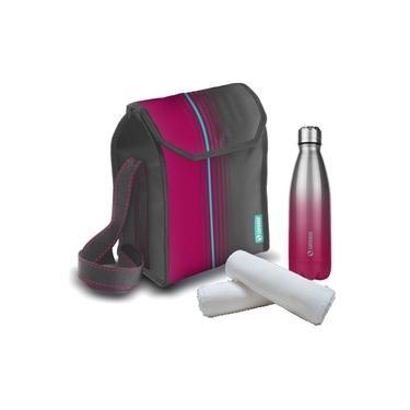 Imagem de Kit Bolsa Térmica Cooler 6 Litros + Garrafa Squeeze 600ml Inox Academia - Soprano