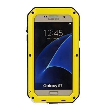 Capa para Galaxy S7, Mangix 3C-Aone Gorilla Glass luxuosa liga de alumínio protetora de metal extremo à prova de choque militar amortecedor de dedo capa protetora de pele para Samsung Galaxy S7, Amarelo