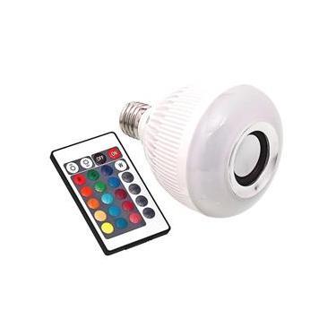 Lâmpada Led Musical Bluetooth Luzes Rgb Controle Remoto
