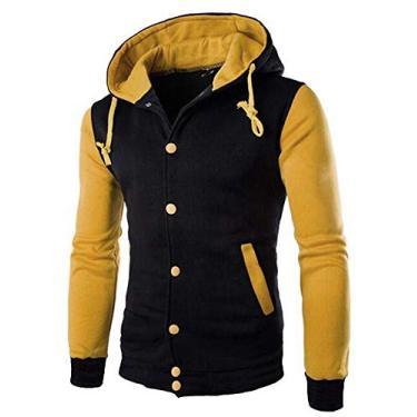 Jaqueta Moletom College Casaco Blusa de Frio Com Capuz Preto (GG, Amarelo com Preto)