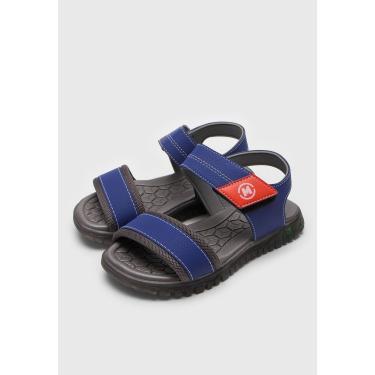 Sandália Molekinho Infantil Pespontos Azul/Laranja Molekinho 2409.101.19115-71817 menino