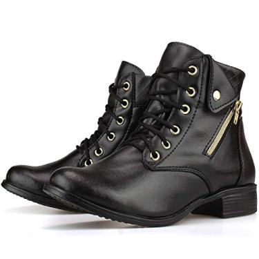Bota Feminina Cano Curto Capuccino Salto Baixo Cadarço Ankle Boot Preta