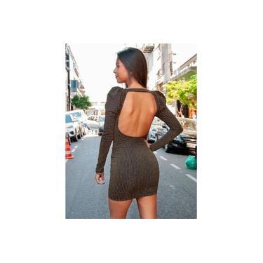 Vestido Miss Misses aberto costa Preto/Dourado 18110