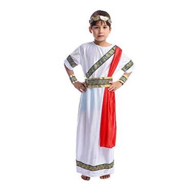 Imagem de Toyvian Fantasia cosplay de meninos romanos para tema histórico, dia das bruxas, conjunto de roupão, faixa de cabeça, tamanho G