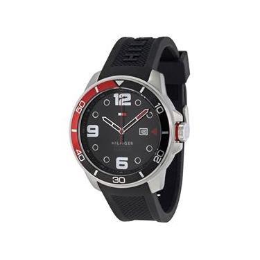 043c1764c02 Relógio Tommy Hilfiger Masculino 1791153 Keith Round Black Silicone Strap