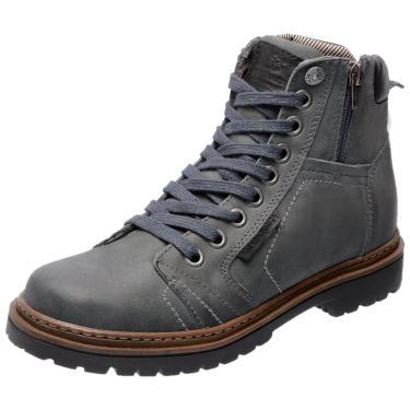 Bota Coturno em Couro Mega Boots 6016 Cinza  masculino