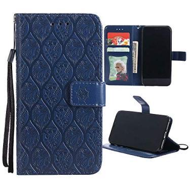 Capa carteira Galaxy J7 Prime em relevo 3D flor de vime PU couro flip capa para celular Samsung J7 V / J7 Perx / J7 Sky Pro / J7 2017 / Halo - azul escuro