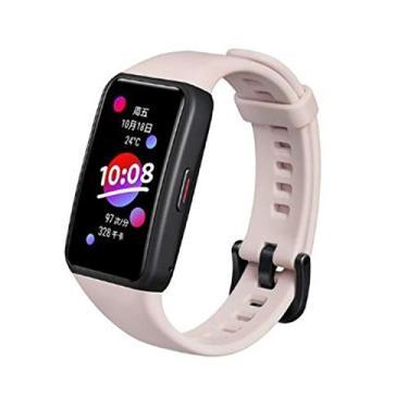 Smartband Honor Band 6 Pulseira inteligente, Tela AMOLED sensível ao toque colorida, SpO2, 5ATM à prova d'água (Rosa)