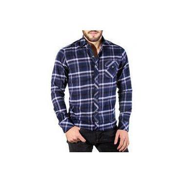 Camisa Xadrez Masculina Slim De Flanela Azul Marinho 6f57e87cdfa9c