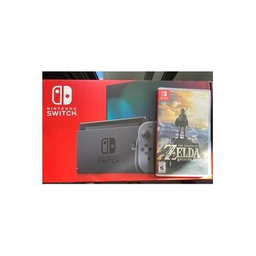 CONSOLE NINTENDO SWITCH COR CINZA 32GB NOVA VERSÃO BATERIA ESTENDIDA + JOGO The Legend Of Zelda: Breath Of The Wild