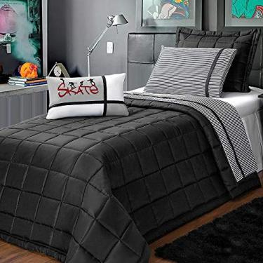 Imagem de Kit Enxoval Lençol 3 Peças 100% Algodão Listrado Noite Perfeita Solteiro Casa Dona