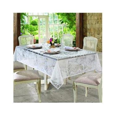 Imagem de Toalha de Renda Retangular 8 lugares Rosas Branca Lepper