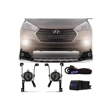 Kit Farol De Milha Completo Hyundai Hb20 2016 2017 2018 2019 Hb20s 2016 2017 2018 2019 Com Moldura E Botão Trip