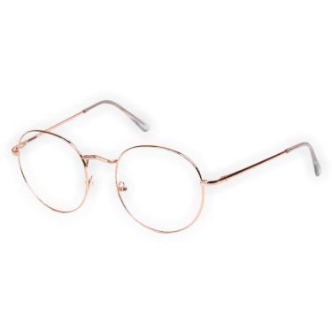 Imagem de Armação Oculos De Grau Hexagonal Feminino Masculino Rosegold