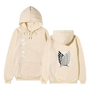 New Attack on Titan Manga Cosplay Jaqueta Anime Shingeki No Kyojin Moletom Wings of Freedom Suéter masculino, Cáqui - 1, XXL