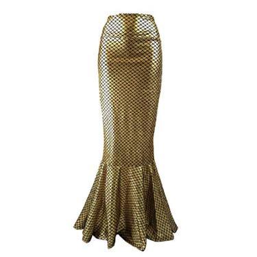 Saia longa YYear feminina sexy cauda de peixe sereia cintura alta brilhante longa saia maxi, Dourado, XS