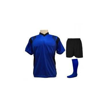 8e208ca101 Uniforme Completo modelo Roma Royal Preto 12+1 (12 camisas + 12 calções