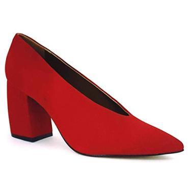 Sapato Scarpin Feminino Salto Alto Grosso Bico Fino Fechado Carrano 147206-38-Vermelho