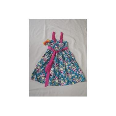 Vestido Infantil Festa Aniversario Flores Pink E Verde