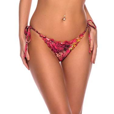 RELLECIGA Calcinha de biquíni feminina ondulada com laço lateral, Red Floral, M